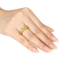Miadora Yellow Silver Multi shaped Lemon Quartz Fashion Ring
