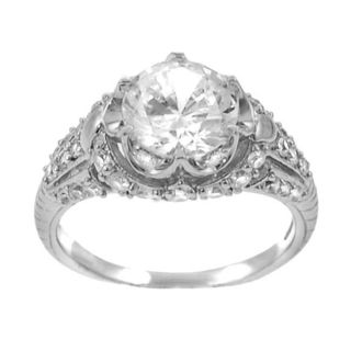 Tressa Sterling Silver Round cut CZ Ring