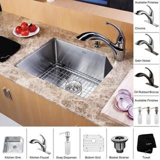 Kraus Stainless Steel Undermount Kitchen Sink, Brass Faucet/ Dispenser