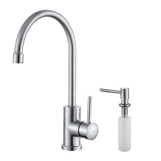 Kraus Stainless Steel Single Lever Kitchen Faucet and Soap Dispenser
