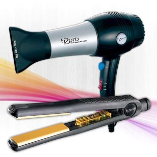 H2pro 207YVI 1 Inch Flat Iron/ 1800 Hair Dryer Combo Set
