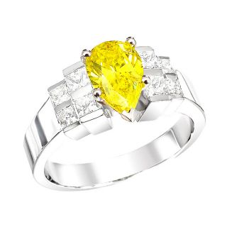 14k White Gold 1 4/5ct TDW Pear Yellow and Princess Diamond Ring (Size