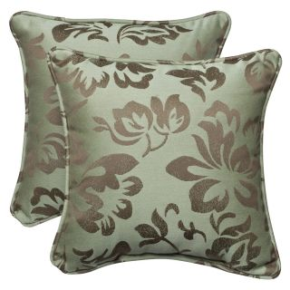 Pillow Perfect Outdoor Brown/ Green Floral Toss Pillows with Sunbrella