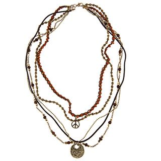 Goldtone Orange and Brown Glass Bead Marcy Multi strand Necklace