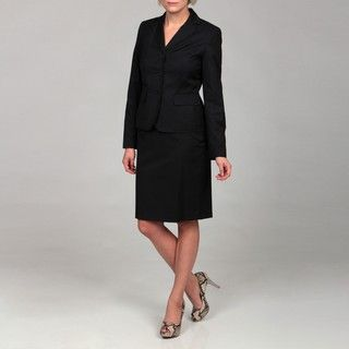 Nine West Womens Navy Three button Skirt Suit