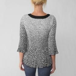 Nicola Womens Black/ White Print Crinkle Top