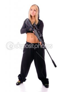 Girl with gun  Stock Photo © BestPhotoStudio #1612592