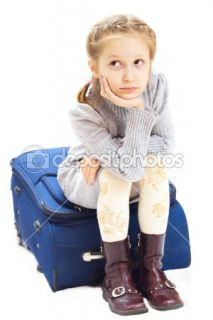 Sad girl with suitcase  Stock Photo © Sergey Mostovoy #1650836