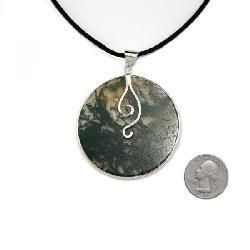 Large Round Moss Agate Pendant with Necklace (China)