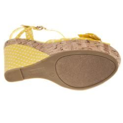 Riverberry Womens Mirage Yellow Polka Dot Wedge Sandals