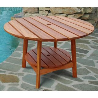 Outdoor Eucalyptus Wood Round Dining Table