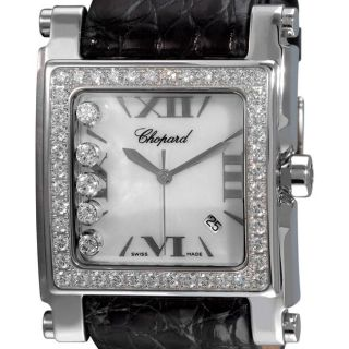 Chopard Womens Happy Sport XL Square White Gold Diamond Watch