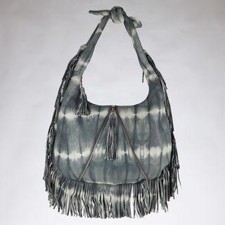 Vintage Reign Grey Tie dye Leather Hobo Bag