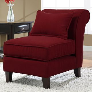 Slipper Red Fabric Armless Chair