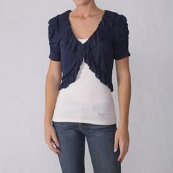 Journee Collection Juniors Ruched Ruffle Accent Bolero