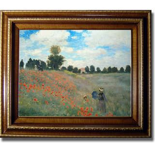 Claude Monet Poppyfields Framed Canvas Art