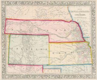 Mitchell 1861 Antique Map of Kansas, Nebraska & Colorado