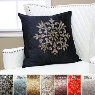 Golden Snowflake Rhinestone Stud Velvet Pillow 19 x 19 (Set of 2