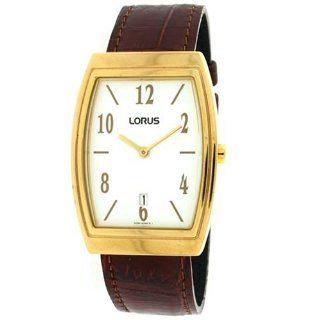 Lorus Men Classic Watch Calendar Gold Tone Case Brown Leather Band
