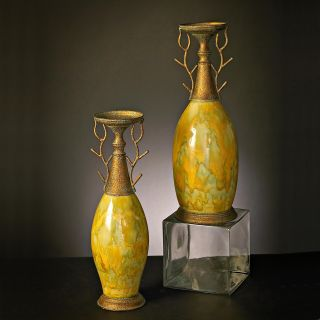 Aged Bronze Iron and Green Candle Holder (Set of 2)