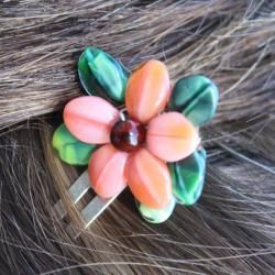 Ardent Designs Coral Pink Floral Hair Clips