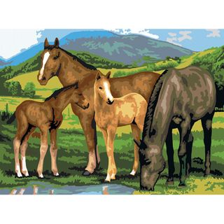 Junior Large Paint By Number Kit 15 1/4 X 11 1/4 Horse & Foals