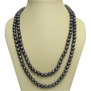 Black Freshwater Pearl Endless 72 inch Necklace (9 10 mm)