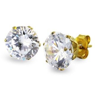 West Coast Jewelry Goldplated Steel 9 mm Cubic Zirconia Stud Earrings