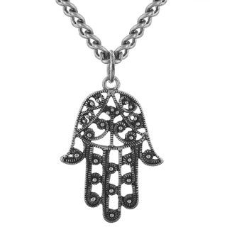 West Coast Jewelry Silvertone Inspirational Hamsa Necklace