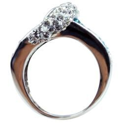 Sterling Silver White and Blue Crystal Belt Buckle Ring