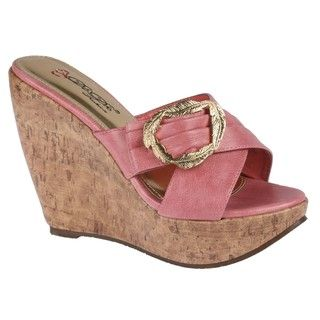 Elegant by Beston Womens Tivan 3 Pink Slip on Cork Platform Wedge
