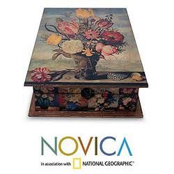 Handcrafted Pinewood Floral Magic Decoupage Jewelry Box (Mexico