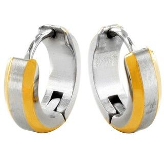 West Coast Jewelry Twotone Stainless Steel Hoop Earrings