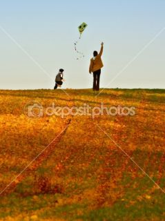 Mother and son fly a kite  Stock Photo © Petr Jilek #2384108