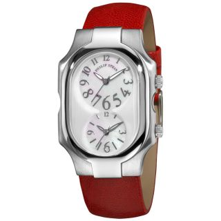 Philip Stein Mens Signature Red Leather Strap Dual Time Watch