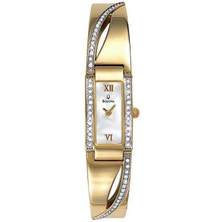Bulova Womens Bangle Styled Gold Tone Stainless Steel Watch