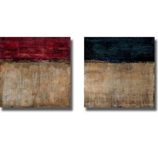 Liz Jardin Pompeian Red and Teal 2 piece Canvas Art Set