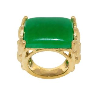Adee Waiss 18k Yellow Gold Overlay Green Jade Flower Ring