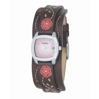 Fossil Womens Floral Detail Analog Dial Watch