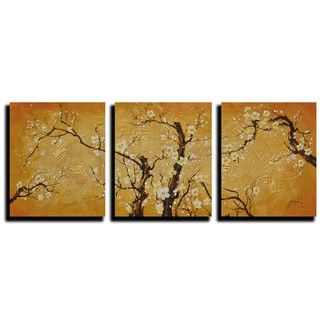 Plum Blossoms J9K Oil Paint 3 piece Canvas Art Set