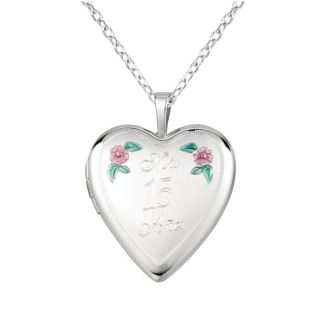 Sterling Silver Heart shaped Mis 15 Anos Locket Necklace