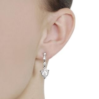 Journee Collection Silvertone Cushion cut CZ Dangle Earrings