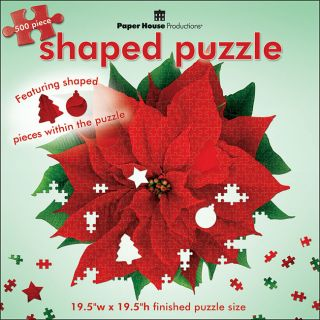 Paper House Red Poinsettia 500 piece Shaped Jigsaw Puzzle