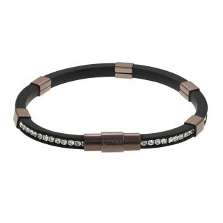 Tressa Coppertone Stainless Steel Channel set CZ Rubber Bracelet