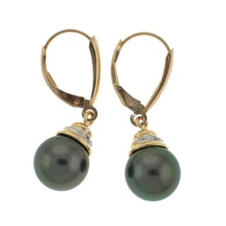 Black Tahitian Pearl Diamond Leverback Earrings (Case of 3