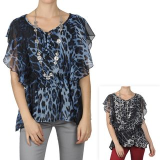 Tressa Designs Womens Contemporary Plus Animal Print Tie Front Top