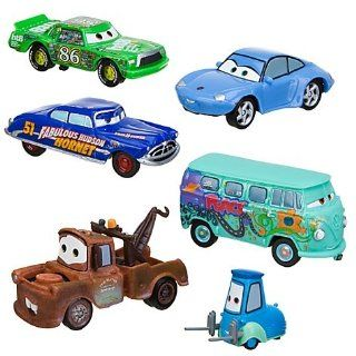 DISNEY PIXAR CARS FIGUREN AUTO SET   Tow Mater, Guido, Sally Carerra