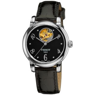 Tissot Womens Lady Heart Black Dial Black Leather Strap Watch