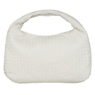 Bottega Veneta White Intrecciato Woven Leather Hobo Bag
