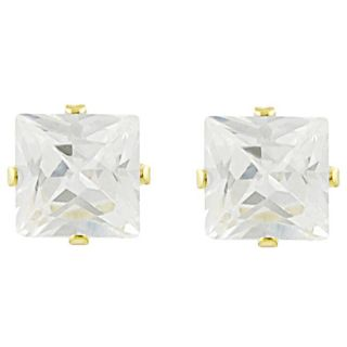 Tressa Sterling Silver Vermeil 8 mm Square cut CZ Earrings